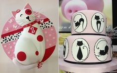 cat cake by Cakeage inspired by Lindy S and Blossombelle Cakes left, cakesforfunshop dot co uk right