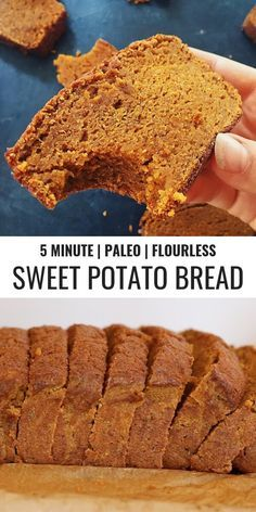 Craving pumpkin bread? Well, I have something better for you to try... This sweet potato bread is like thanksgiving in a loaf pan, you're welcome. This is how I tried to make bread using sweet potatoes instead of flour. Paleo pumpkin spice bread made in just a few minutes using sweet potatoes! Easy gluten free pumpkin bread recipe. #paleo #pumpkinspice #bread #baking