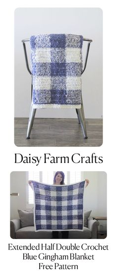 Extended Half Double Crochet Blue Gingham Blanket - Free Pattern from Daisy Farm Crafts