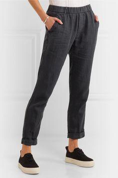 Dark-gray linen Pull on 100% linen Machine wash Designer color: Carbon Pigment Imported