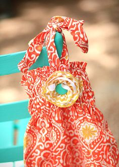 Native Fire Baby Bubble with Detachable Gold Chevron & Aqua Flower & Halter Back    Available SIzes 3 months  6 months  12 months  18 months