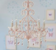 Pink Shabby Chic Crystal Lamp Shade Chandelier \