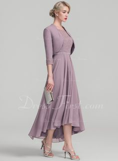 8876d1cbd5 A-Line/Princess Scoop Neck Asymmetrical Chiffon Lace Mother of the Bride  Dress With Beading (008118940)