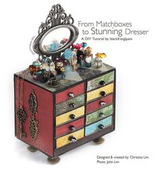 DIY tutorial: Stunning miniature matchbox dresser. The tiny drawers are great for storing rings. This is also a good dollhouse craft project. Url: http://blackfrangipani.com/2013/03/04/diy-tutorial-from-matchboxes-to-stunning-dresser/