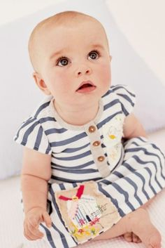 Buy White & Blue Stripe Embroidered Dress (0mths-2yrs) online today at Next: Turkey