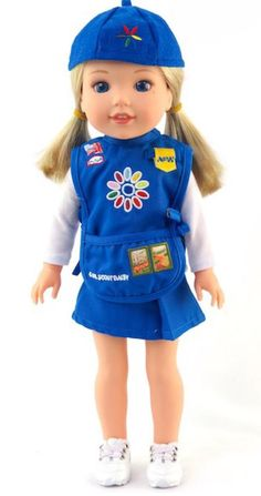 Daisy scout uniform to fit 14 inch girl dolls such as American Girl Wellie Wisher