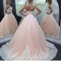 07d37ba1025 2016 Vintage Quinceanera Ball Gown Dresses Sweetheart Pink Lace Appliques  Tulle Long Sweet 16 Cheap Party Prom Gowns Modest Plus Evening - Thumbnail 1