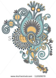 original hand draw line art ornate flower design. Ukrainian traditional style . Raster version - stock photo