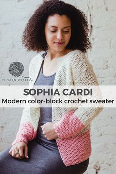 Easy Crochet Patterns Make the easy, beginner friendly Sophia Cardi as the perfect layering piece in spring and summer. Featuring minimal shaping, bold color-blocking, and feminine lace stitching. Free Crochet, Knit Crochet, Crochet Hats, Unique Crochet, Crochet Blankets, Beginner Crochet Projects, Crochet Patterns For Beginners, Crochet Cardigan, Crochet Sweaters
