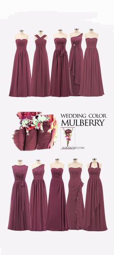 Bridesmaid Gowns Here you can find various styles of bridesmaid dresses in color mulberry, including sweetheart neckline, one shoulder or strapless neckline dresses. We Babaroni can meet all your wishes. Wedding Motif Color, Wedding Motifs, Old Rose Wedding Motif, Rose Bridesmaid Dresses, Wedding Bridesmaids, Wedding Dresses, Necklines For Dresses, Perfect Wedding Dress, Shoulder