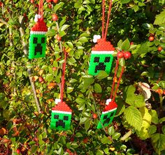 Creeper Christmas Tree Ornaments made from Perler beads