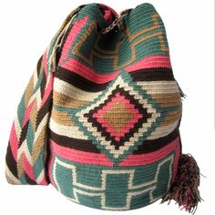 Amazonica Mochila Wayuu Bag | Handmade and Fair Trade Wayuu Mochila Bags – LOMBIA & CO. | www.LombiaAndCo.com Crochet Blocks, Tapestry Crochet, Filet Crochet, Fair Trade, Women Empowerment, Cross Stitch Embroidery, Knitted Hats, Needlework, Knitting
