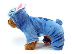 Irresistible super cute Stitch Dog Costume. The dog costume features soft cotton bodysuit with hood, screen art and embroidered details. Hood with 3D stand-up ears, nose and small little cute tail at
