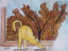 Autumn cat illustration by Sara Neves Cottoncandy's Family