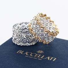 The Lovely Couple - Eternelle rings in white and yellow gold with diamonds.