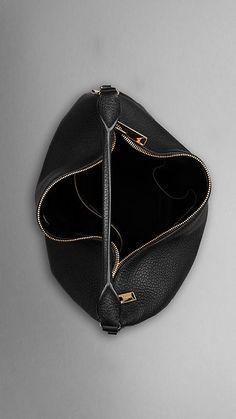 Large Heritage Grain Leather Hobo Bag | Burberry