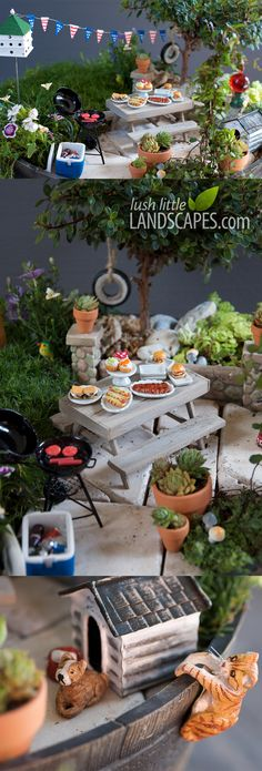 This is a miniature living garden! Miniature Fairy Garden Backyard Barbeque BBQ | Project Guide Preview | Lush Little Landscapes