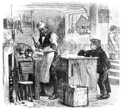 Carpenter. Victorian drawing of a carpenter, or turner, in his shop standing at his lathe talking to a boy. A glue pot is on the fire, tools hang on the counter, and a wicker cage holding a bird is by the window. Download high quality jpeg for just £5. Perfect for framing, logos, letterheads, and greetings cards.