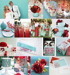 Red and Aqua Wedding Theme