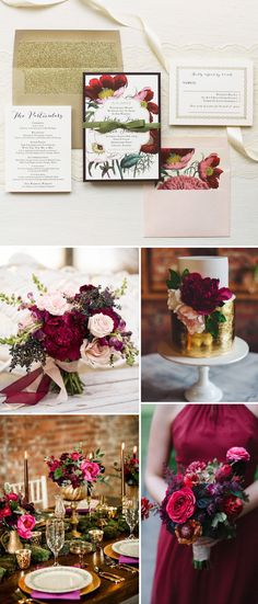 Romantic Florals + Rich Jewel Tones. Top Favorite Wedding Colors for 2017!