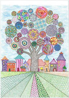 Fellowship of Differents church bulletin cover August 2016 - Albero Folk Art Flowers, Flower Art, Doodle Art Drawing, Art Drawings, School Art Projects, Elements Of Art, Art Classroom, Art Club, Art Activities