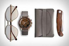 Everyday Carry: Sepia  Brioni Aviator Sunglasses | 1965 Omega Speedmaster with Tropic Thunder Dial |  Makr Slim Wallet | Muralla Pau Ferro Folding Knife.