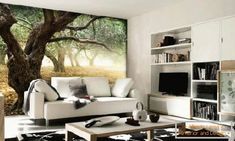 Real Photo Wallpaper Applicable for Modern Home:Forest Wall Mural Ideas In Living Room With White Fabric Sofa Set Design And Black White Floral Rug Under Cream Coffee Table Sofa Set Designs, Living Room Murals, Living Room Decor, Wall Murals, Living Rooms, Wall Art, Wall Vinyl, Hotel Restaurant, Modern Wall Decor