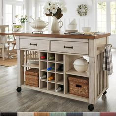 Eleanor Two-Tone Kitchen Island with Wine Rack by iNSPIRE Q Classic (Oak Top with Antique White Base), Brown Top with Antique White Base Rolling Kitchen Island, Farmhouse Kitchen Island, Mobile Kitchen Island, Moveable Kitchen Island, Kitchen Island Cart, Kitchen Cabinets, Kitchen Islands, Rustic Kitchen, Eclectic Kitchen