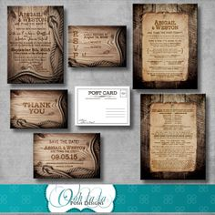 Rustic Wedding Invitation, Response card, Save the Date, Wedding Program, Thank You Card - Digital - Printable - Customizable - Western