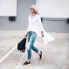 Pin for Later: 28 Outfits That'll Make You Reach For Blue Jeans and a White Tee Throw On a Long Button-Up and Slip Into Comfy Plimsolls