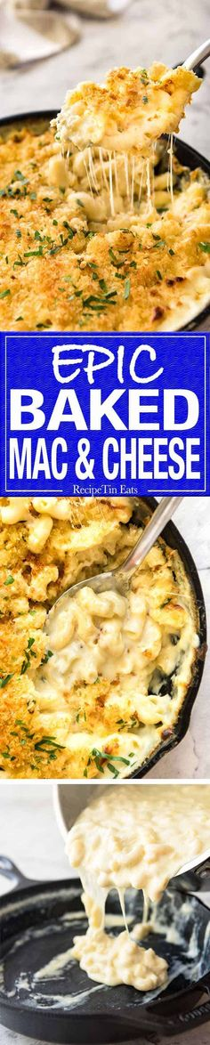 The ultimate classic Baked Mac and Cheese, with an insane cheesy sauce and topped with an irresistible golden, buttery breadcrumb topping. Cheese Recipes, Pasta Recipes, Dinner Recipes, Cooking Recipes, Weight Watcher Desserts, Pasta Dishes, Food Dishes, Side Dishes, Recipetin Eats
