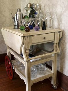 An old abandoned tea cart gets a new lease on life as a bar cart.