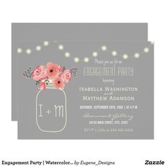 Engagement Party | Watercolor Flowers & Mason Jar Card Engagement Party | Watercolor Flowers & Mason Jar by Eugene Designs.