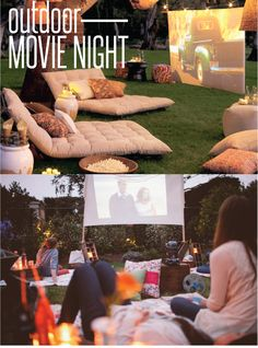 Outdoor Movie Night inspirations. Great for parties or just a night with the family in the backyard!