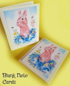 Easter Cards, Bunny Cards, Note Cards, Blank Cards, Easter Gift, Easter Bunny Gift, Bunny Art, Bunny Painting, Illustration Art, Rabbit Art