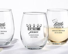 Stemless Wine Glass - Little Prince at Elegant Baby Favors. We're your number one source for Prince themed baby shower favors. Prince party favor by Kate Aspen at discount prices! Wine Glass Favors, My Wedding Favors, Personalized Baby Shower Favors, Royal Baby Showers, Wine Brands, Doja Cat, Ppr, Stemless Wine Glasses, Bridal Gifts