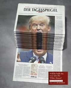 Der Tagesspiegel Newspaper Stack print advertising campaign featuring Donald Trump, refugee crisis and 2016 Euro Football Championship. Print Advertising, Creative Advertising, Advertising Campaign, Print Ads, Advertising Ideas, Funny Advertising, Newspaper Design, Humor Grafico, Caricatures