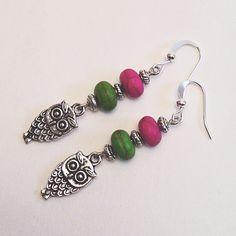 Green & Magenta Beaded Dangling Drop Earrings with Silver Owl Charm, Casual Drop Dangle Earrings Earings by EverydayWomenJewelry on Etsy https://www.etsy.com/listing/233066783/green-magenta-beaded-dangling-drop