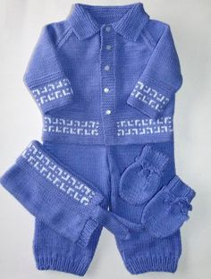 Greek Key Baby Layette Knit  Vintage by LaraineRoseHandiWorx