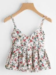 COLROVIE Floral Peplum Cami Top Women Multicolor Ditsy Print Cute Summer Tops 2017 Fashion Sexy V Neck Casual Draped Camisole ** AliExpress Affiliate's Pin. View the item in details by clicking the image Spring Outfits, Trendy Outfits, Cute Outfits, Teen Fashion, Korean Fashion, Fashion Outfits, 70s Fashion, Fashion Vintage, Vintage 70s