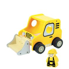 I'm Toys wooden bulldozer. Move the soil! Move the sand! Move the rubble!  Have fun moving all these materials and more while role-playing with this wooden Bulldozer from I'm Toy.  Made from sustainable rubber wood, finished with non-toxic paint.  Approx 16cm x 21cm x 12.5cm  Ages 18m+