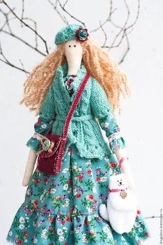 Купить Кукла тильда Алиса, текстильная кукла, интерьерная кукла - бирюзовый, тильда, тильда кукла