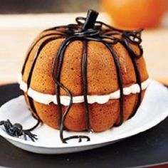 Pumpkin cake made from two bundt cakes #Halloween