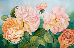 'Five Roses' Giclee print of an original water-colour. On sale at www.etsy.com. Search for InkberryStudio.