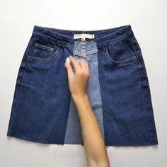7 clever jeans ideas Amazing Ideas and Photography. Refaçonner Jean, Artisanats Denim, Cut Shirt Designs, Denim Wrap Skirt, Jeans Refashion, Denim Crafts, Recycle Jeans, Clothing Hacks, Clothing Ideas