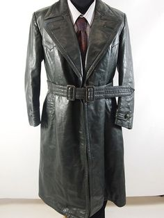 Striwa WW2 Era Mens Vintage  Green Leather Overcoat Trenchcoat Coat 40"