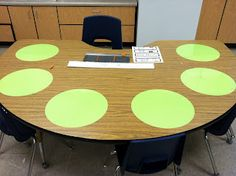 Dry erase circles. Who knew? Vinyl circles at group table.  No passing out dry erase boards:)