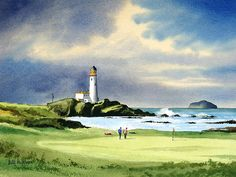 Turnberry Golf Course Scotland Green Art Print by Bill Holkham. All prints are professionally printed, packaged, and shipped within 3 - 4 business days. Golf Painting, Famous Golf Courses, Golf Art, Green Paintings, Thing 1, Golf Tips For Beginners, Golf Irons, Golf Lessons, Green Art