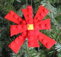 LEGO Poinsettia Ornament by ThinkOutsidetheBrick on Etsy, $5.00