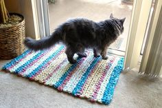The finished rag rug is a pretty accent for high-traffic areas in your home.